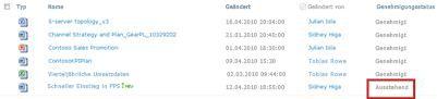 SharePoint-Bibliothek mit Datei mit Status 'Ausstehend', die auf Genehmigung wartet