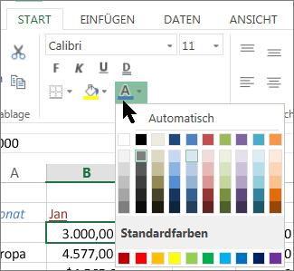 Auswählen einer anderen Textfarbe