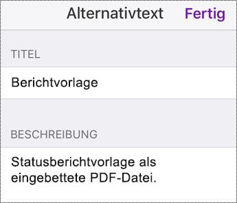 Hinzufügen von Alternativtext zu einer eingebetteten Datei in OneNote für iOS