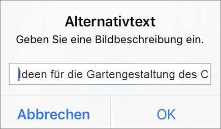 """Outlook für iOS-Menü """"Alternativtext für Bild"""""""