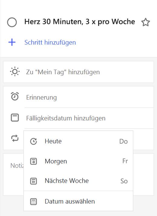 """Screenshot der Detailansicht, """"Fälligkeitsdatum hinzufügen"""" ausgewählt"""