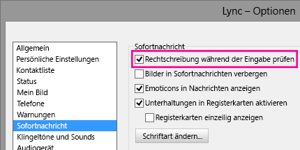 """Screenshot des Fensters """"IMI-Optionen"""" mit hervorgehobener Rechtschreibprüfung"""