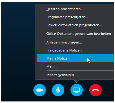 Screenshot, der das Freigeben von OneNote 2016-Notizen in Skype for Business zeigt.