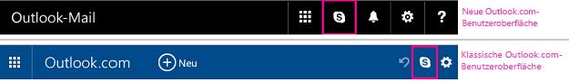 """Schaltflächen """"Skype"""" auf der neuen und auf der herkömmlichen Outlook.com-Benutzeroberfläche"""