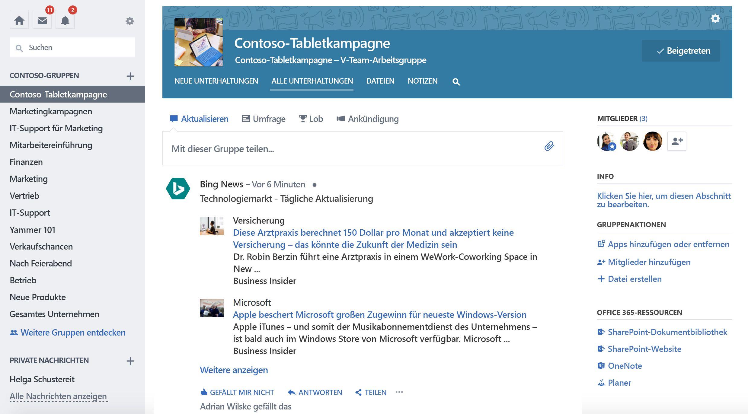 Screenshot der Gruppe aktualisieren von Drittanbieter-Dienst