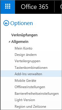 """Screenshot des Abschnitts """"Allgemein"""" des Menüs """"Optionen"""" in Outlook, in dem die Option """"Add-Ins verwalten"""" hervorgehoben ist."""
