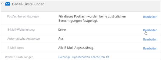 """Screenshot: Auswählen von """"Bearbeiten"""" zum Konfigurieren der E-Mail-Weiterleitung"""