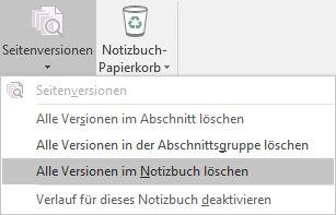 "Das Menü ""Seitenversionen"" in OneNote 2016"