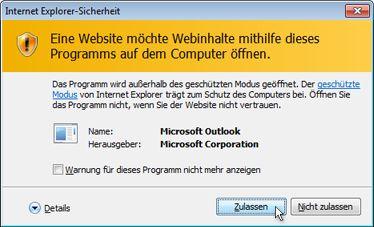 Dialogfeld für Internet Explorer-Sicherheit