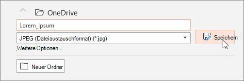 """Identifizieren Sie im Dialogfeld """"Speichern unter"""" den Typ der Datei, unter dem Sie Ihre Folie speichern möchten."""