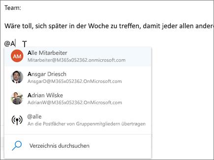 @Erwähnungen in Outlook im Web