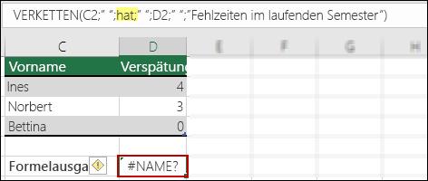 #NAME?-Fehler aufgrund fehlender doppelter Anführungszeichen in Textwerten