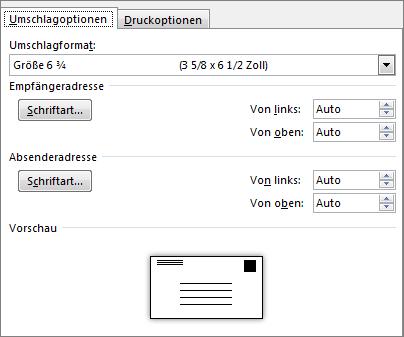 Registerkarte 'Umschlagoptionen' zum Festlegen des Umschlagformats und der Schriftarten für die Adressen