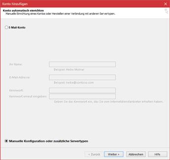 """Auswählen von """"Manuelles Setup"""" oder zusätzlichen Servertypen"""