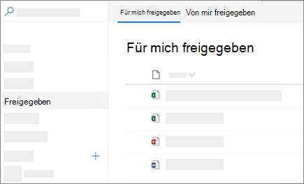 """Screenshot der Ansicht """"für mich freigegeben"""" in OneDrive for Business im Web"""