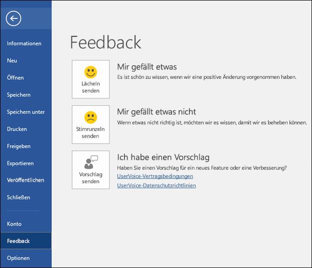 """Klicken Sie auf """"Datei"""" > """"Feedback"""", um Kommentare oder Vorschläge zu Microsoft Word abzugeben."""