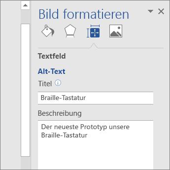 """Screenshot des Bereichs """"Alternativtext"""" im Bereich """"Grafik formatieren"""" mit Beschreibung des ausgewählten Bilds"""