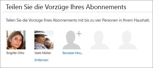 """Der Abschnitt """"Ihre Abonnementvorteile teilen"""" auf der Seite """"Office 365 teilen"""", in dem der Link """"Entfernen"""" unter dem Bild des Benutzers angezeigt wird."""