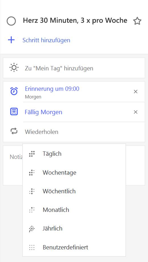 """Screenshot der Detailansicht, """"Wiederholen"""" ausgewählt"""