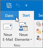 "Screenshot des Menüs ""Datei"" in Outlook 2016"