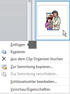 """Zum Einfügen eines Bilds klicken Sie mit der rechten Maustaste auf die Miniaturansicht eines Bilds und wählen """"Einfügen"""" aus."""