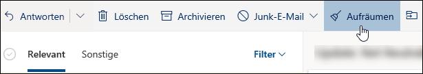"""Screenshot der Schaltfläche """"Aufräumen"""""""