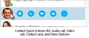 Schnelle Aktionen mit Kontakten: Chat, Audio, Video, Visitenkarte und mehr