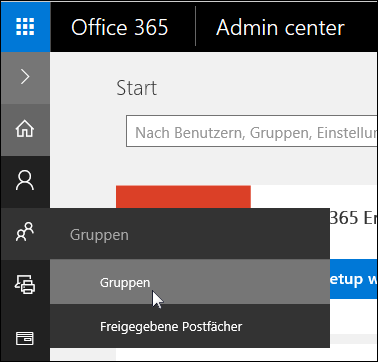 """Wählen Sie im linken Navigationsbereich """"Gruppen"""" aus, um auf die Gruppen in Ihrem Office 365-Mandanten zuzugreifen."""