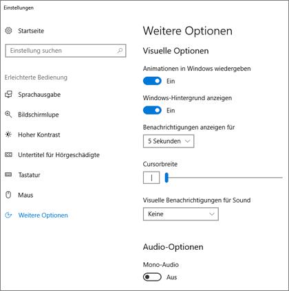 """""""Erleichterte Bedienung"""", Bereich """"Weitere Optionen"""" in """"Einstellungen"""" unter Windows 10"""