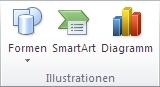Gruppe 'Illustrationen' auf der Registerkarte 'Einfügen' in PowerPoint2010