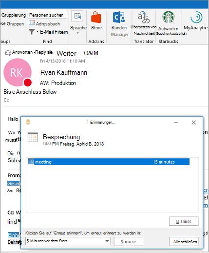 Dialogfeld ' Erinnerung ' oben in einer Outlook-e-Mail-Nachricht