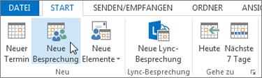 """Kalender > """"Neue Besprechung"""""""