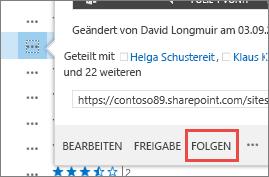 """Wählen Sie im Popupkartenmenü in OneDrive for Business den Befehl """"Folgen"""" aus."""