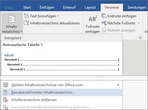 """Die Option """"Benutzerdefiniertes Inhaltsverzeichnis"""" wird im Menü """"Inhaltsverzeichnis"""" angezeigt."""