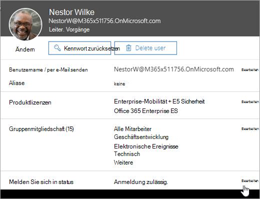 Screenshot des Anmeldestatus eines Benutzers in Office 365