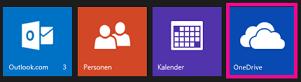 """App-Startfeld mit hervorgehobener Kachel """"OneDrive"""""""