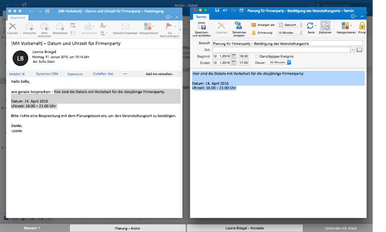 Nebeneinander angezeigte Nachrichten in der Outlook-Vollbildansicht