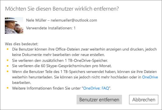 Screenshot des Bestätigungsdialogfelds, das angezeigt wird, wenn Sie einen Benutzer aus Ihrem Office365 Home-Abonnement entfernen