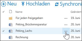 """Das Ellipsensymbol """"Mehr"""" neben den Dateinamen in OneDrive for Business auswählen, um die Hoverkarte des Dokuments zu öffnen"""