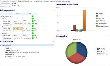 Vertriebsdashboard mit den angewendeten Filtern 'Geschäftsjahr' und 'Artikelumsätze'