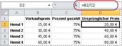 Beispiel für eine Formel zum Berechnen eines Prozentsatzes
