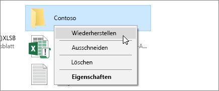 "Der Screenshot zeigt die Option ""Wiederherstellen"" im Windows-Papierkorb."