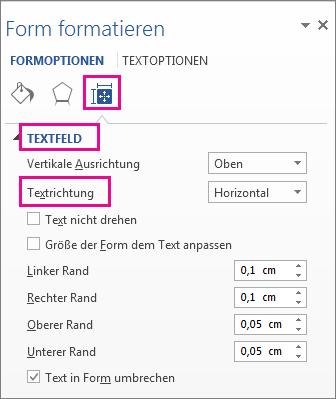 """Auswählen der Textrichtung im Bereich """"Form formatieren"""""""