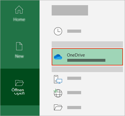 Office Open-Dialogfeld mit dem OneDrive-Ordner