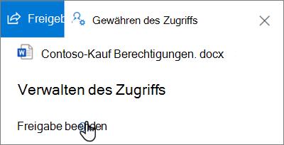 """Screenshot des Links """"Freigabe beenden"""" im Bereich """"Zugriff verwalten"""" in der Ansicht """"freigegeben von mir"""" in OneDrive for Business"""