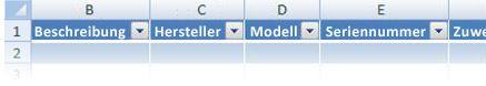 Anpassen der Excel-Tabellenüberschriften