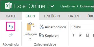 Schaltfläche 'Rückgängig' auf der Registerkarte 'Start'