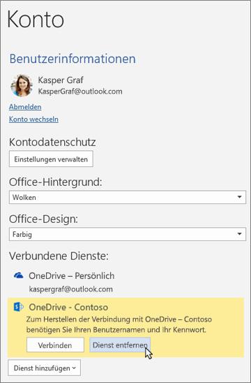 """Der Bereich """"Konto"""" in den Office-Apps mit hervorgehobener Option """"Dienst entfernen"""" unter """"Verbundene Dienste"""""""