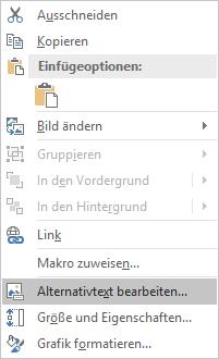 Bearbeiten von Alternativtext für Excel Win32-Menü für Bilder