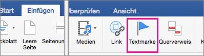 """Auf der Registerkarte """"Einfügen"""" ist """"Textmarke"""" hervorgehoben."""